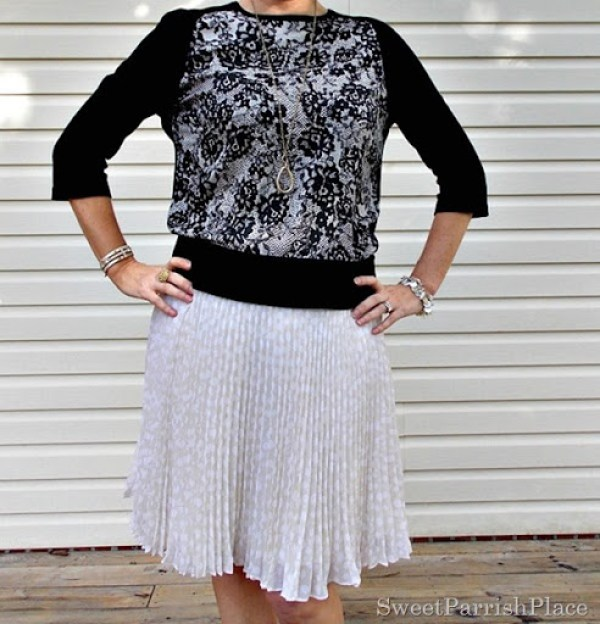 cream chiffom pleated skirt, lace front sweater, black sandals2