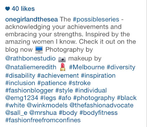 Screen shot of One Girl of the Sea Instagram account - explaining the blog and asking people to visit it, plus hashtags
