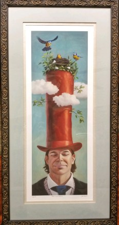 Giclee print of a man in a long red top hat with birds in a nest