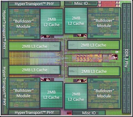AMD Bulldozer FX 8150. 4 Módulos, 8 INT cores, 4 L2 de 2 MB y 8 MB L3.
