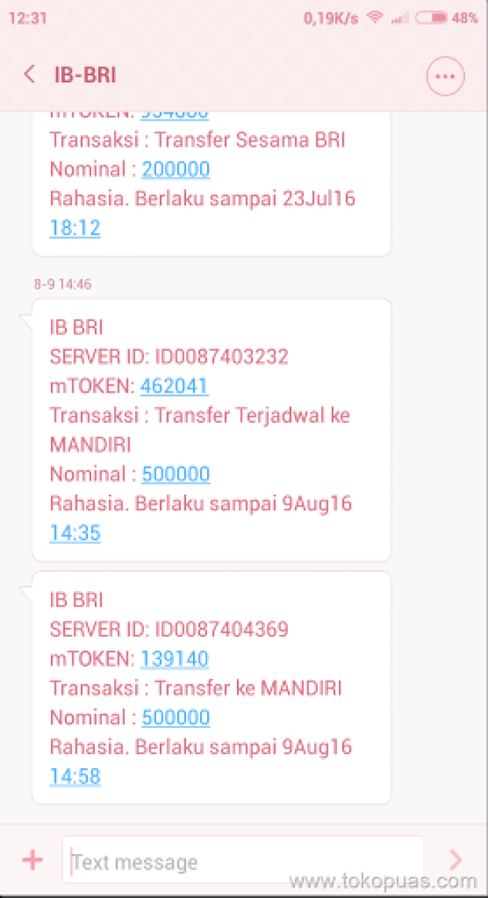 token internet banking bank mandiri
