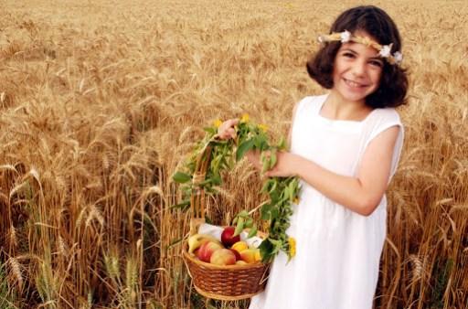 An Israeli Girl celebrates Shavuot in a Kibbutz in Israel on the Jewish feast of Shavuot.