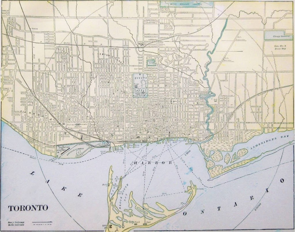 1908 Map Toronto Streets and Harbour