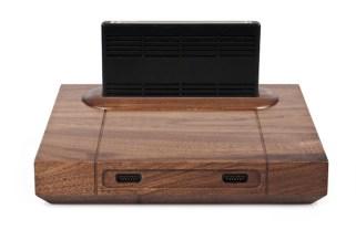 Neo Geo de madeira, com cartucho acoplado