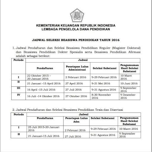 Jadwal Pendaftaran dan Seleksi Beasiswa LPDP 2016