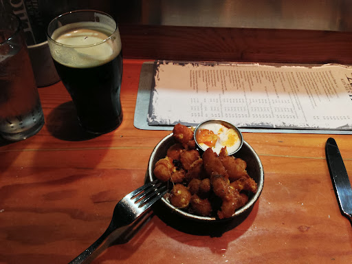 Dinner in Denver (Euclid Hall and Kitchen) with fried cheese curds as appetizers with Telluride Brewing Co. Face Down Brown