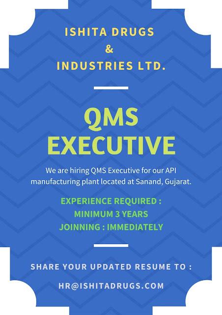 Job Availables, Ishita Drugs & Industries Ltd Job Vacancy For QMS Executive