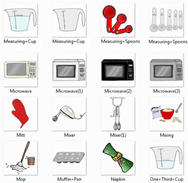 Measuring Cup, Measuring Spoons, Microwave, Mitt, Mixer, Mixing, Mop,  Muffin Pan, Napkin, One Third Cup