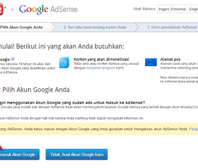 Setelah Anda Mengakses Link Tersebut Anda Akan Diarahkan Ke Halaman Pendaftaran Google Adsense Klik Ya Lanjutkan Masuk Dengan Menggunakan Email Gmail