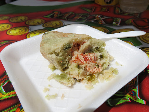 Tamale de chipilín. Chipilín is a plant native to Mexico and I believe there was also some cheese in it and it was very delicious (12 pesos, ~$1)