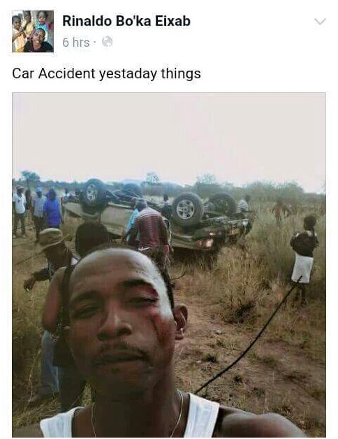 Car Accident Victim Takes Selfie, Posts On Facebook With Funny Caption 1