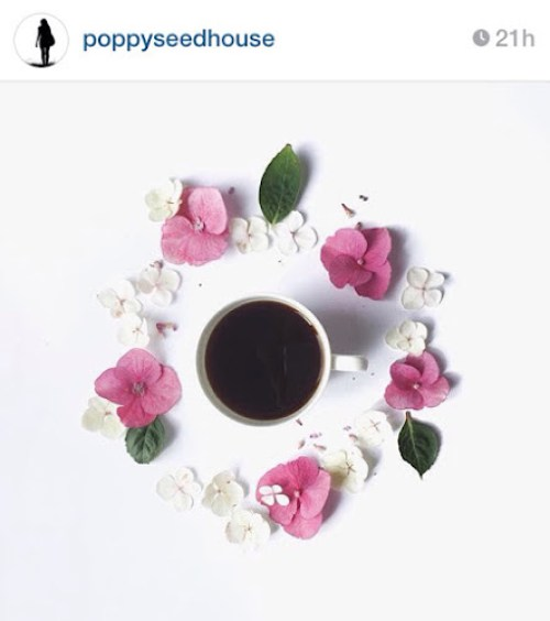 Poppyseedhouse's instagrm - coffee surrounded by flowers