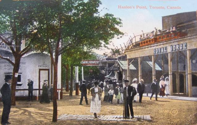 postcard-toronto-island-hanlans-point-royal-gorge-coaster-car-going-by-crowd-1909
