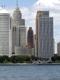 Detroit Financial District viewed from the International Riverfront