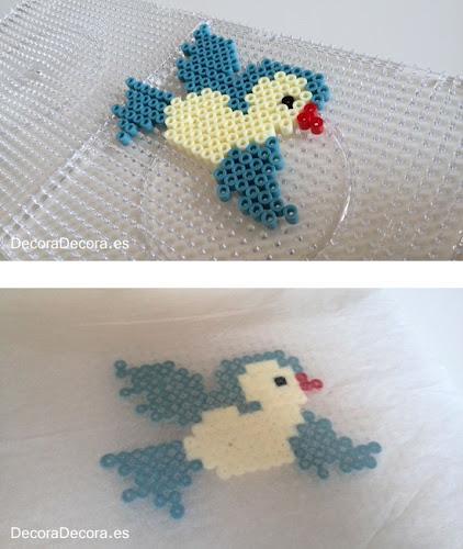 Pajarito hecho con hama beads