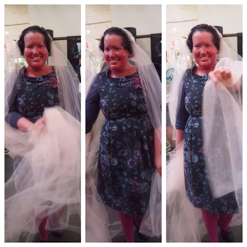 Carly findlay trying on a veil - three photo collage