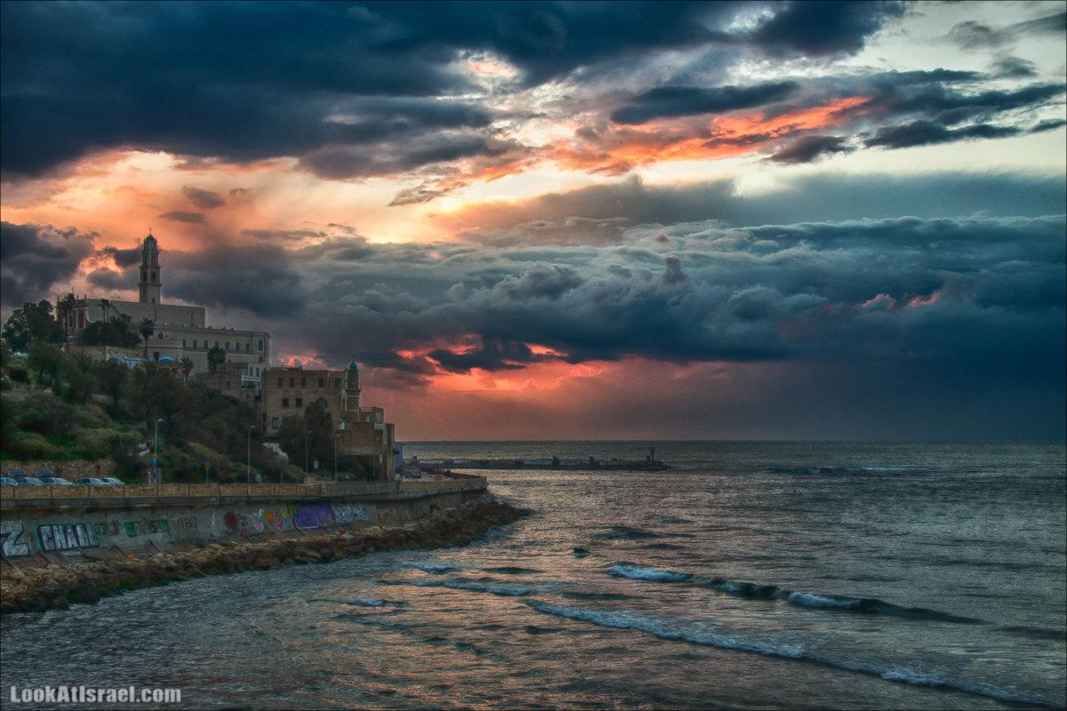 Закат в самом над старым Яффо. LookAtIsrael.com - Фото путешествия по Израилю и не только...