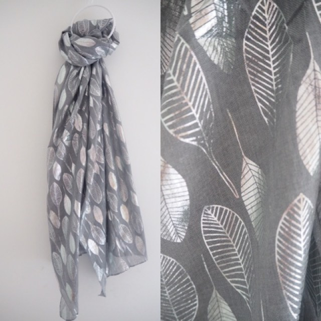 Grey scarf with silver leaves