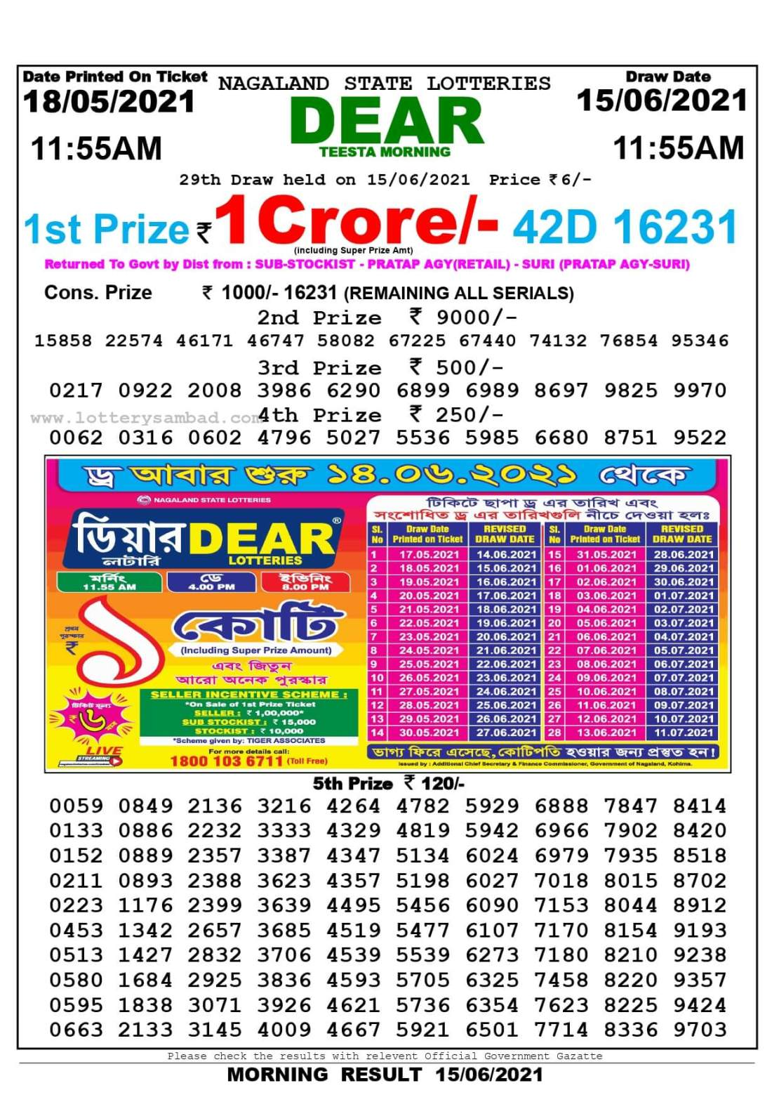 Nagaland State Lottery Result Today 11:55 AM 15.6.2021