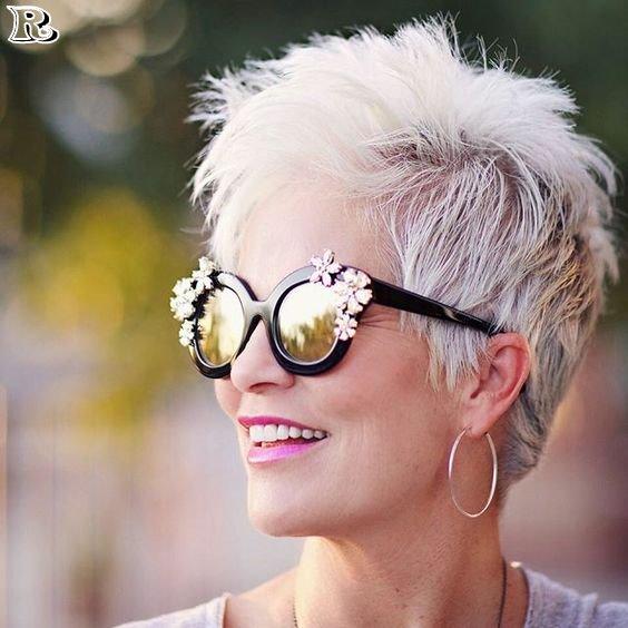 White Spiky Pixie Over 50