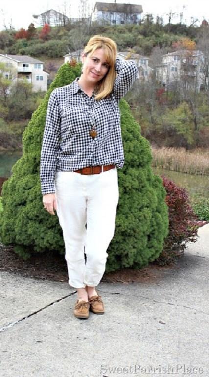 black-plaid-shirt-cream-pants-sperry-1