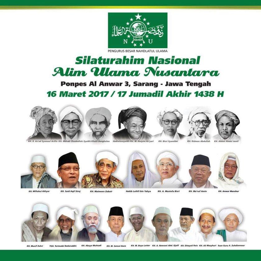 Silaturahmi Nasional Alim Ulama Nusantara, 16 Maret 2017, Rembang, Jawa Tengah. Foto: NU Online.