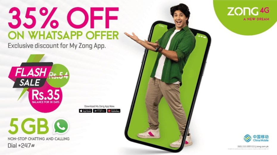 Zong Brings Amazing WhatsApp Offer for My Zong App Users