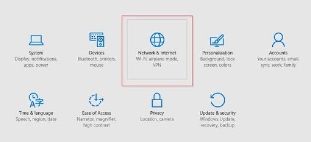 network and internet settings windows 10