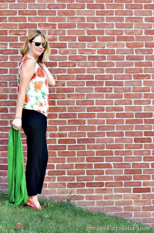 black-cropped-pants-floral-blouse-green-cardigan1