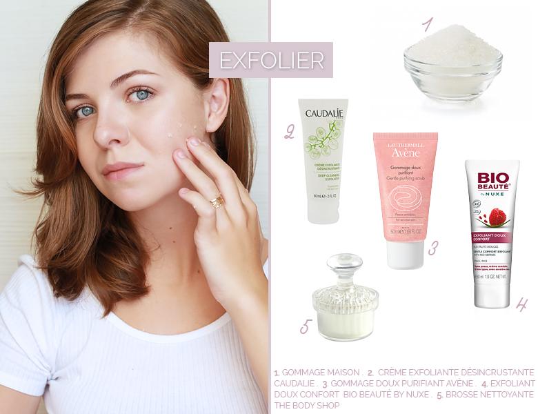Sélection de produits exfoliants pour une jolie peau.