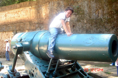 Sir Jeff rides on top of a big cannon.