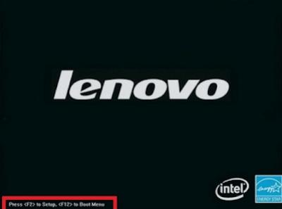 Màn hình khởi động của LENOVO có phím truy cập Menu BOOT (phím F12) và BIOS (phím F2)