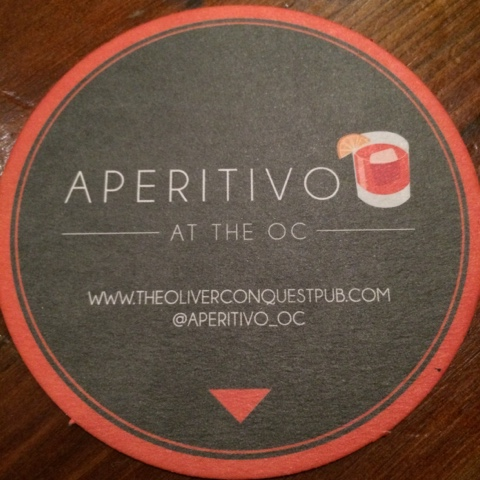 Aperitivo at the Oliver Conquest drinks coaster