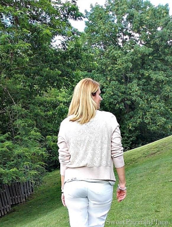 white jeans, espadrilles, grey t-shirt, pink lace back cardigan2