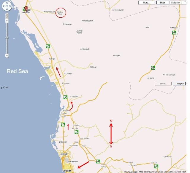 Peta Abwa Hijaz dimana makam Sayyidah Aminah berada.
