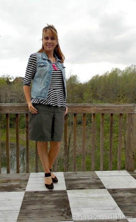 denim vest, brown skirt, striped shirt, brown wedges