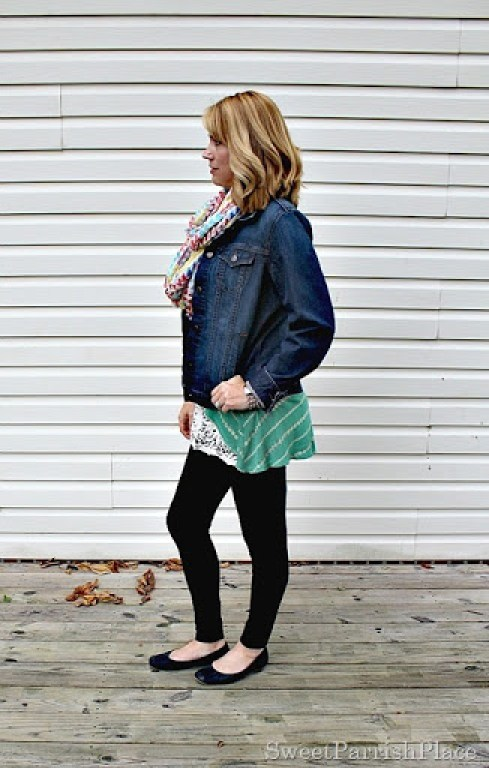 black-leggings-denim-jacket-green-striped-tank-lace-extender-scarf3