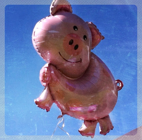 Flying pig balloon (edited with Picfx on iPad)