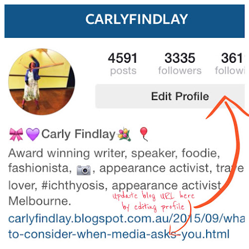Editing your instagram profile to update your blog link