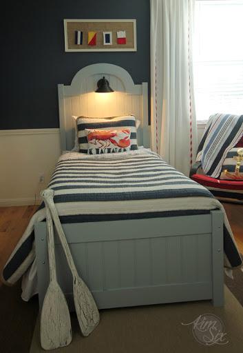 diy headboard and footboard with beadboard and nautical light - the