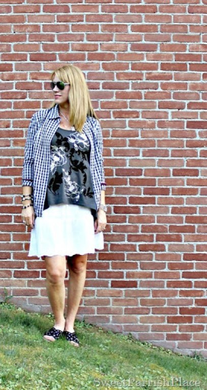 White skirt, grey and silver tank, plaid button down, black wedges2