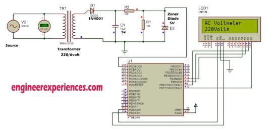 AC Voltmeter using Atmel (smart Energy meter)