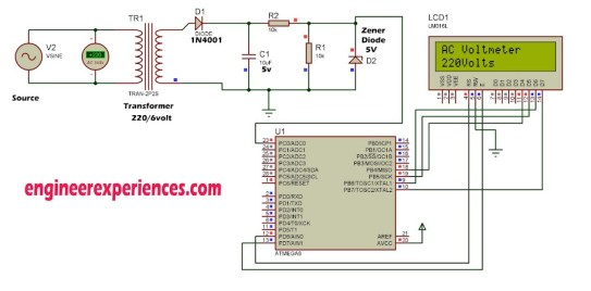 AC Voltmeter using Atmel (smart Energy meter)