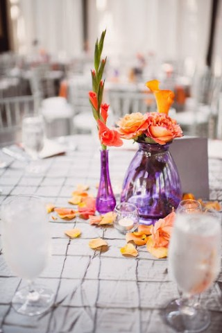 orange and puple centerpiece