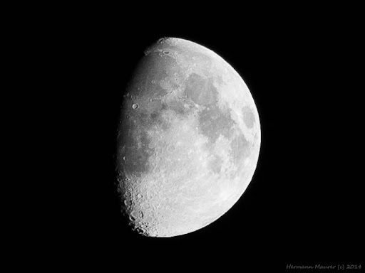 The moon shortly after the 1st quarter.  Created by Hermann Maurer with Olympus E-P5 OLYMPUS M.40-150mm F4-5.6 R at 03.10.2014 This is 1:1 image crop from a large one.