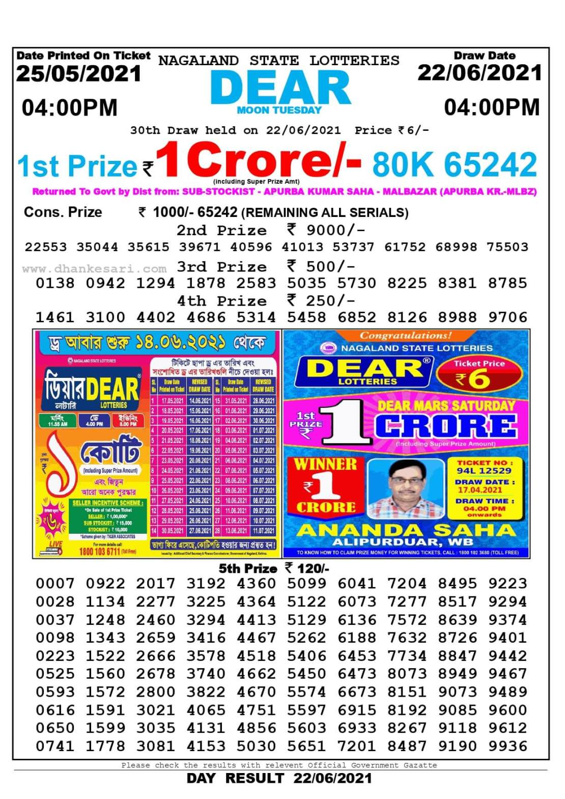 Nagaland State Lottery Result Today 4:00 PM 22.6.2021