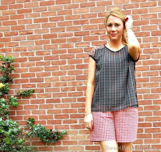 red plaid shorts, plaid top with lace back4