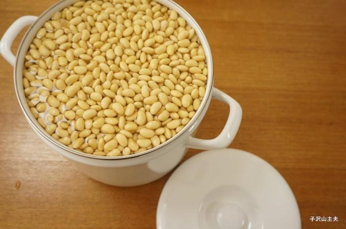 水で大きくなった大豆