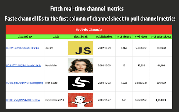 YT Tracker - YouTube stats on Google Sheet - G Suite ...
