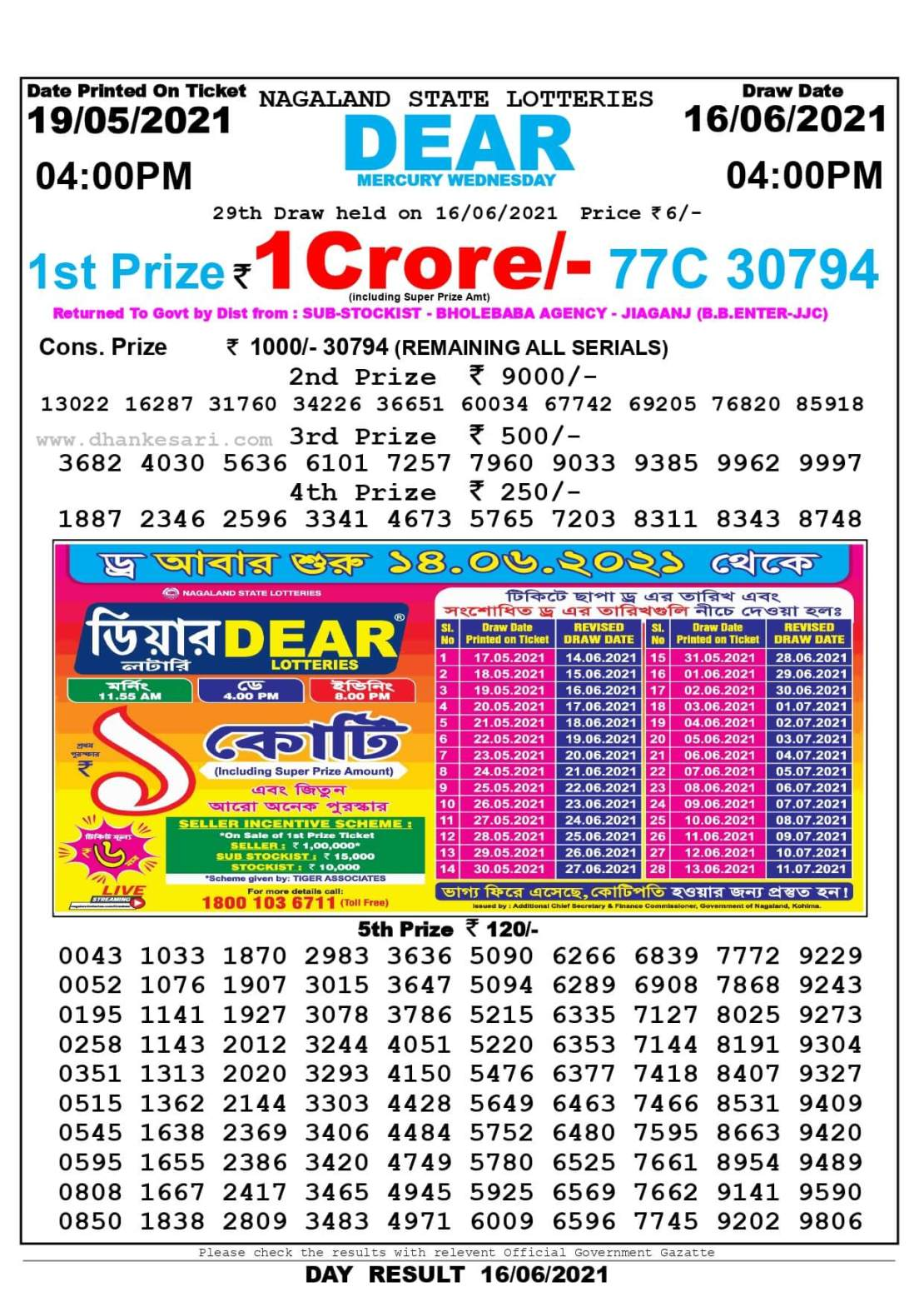Nagaland State Lottery Result Today 4:00 PM 16.6.2021